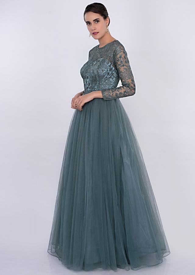 Carolina blue net gown with embroidered bodice only on Kalki