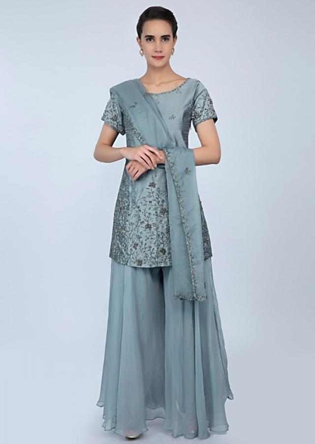 Carolina blue palazzo suit with embroidery and butti only on Kalki