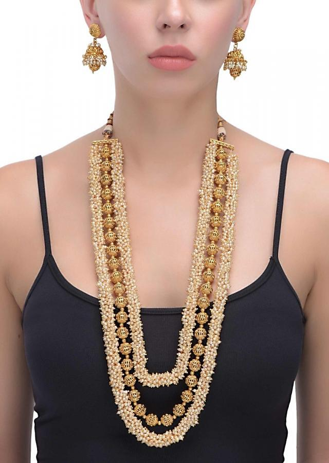 Carved Round Gold Plated Beads And Pearls Multilayer Necklace With Matching Jhumkas Online - Kalki Fashion