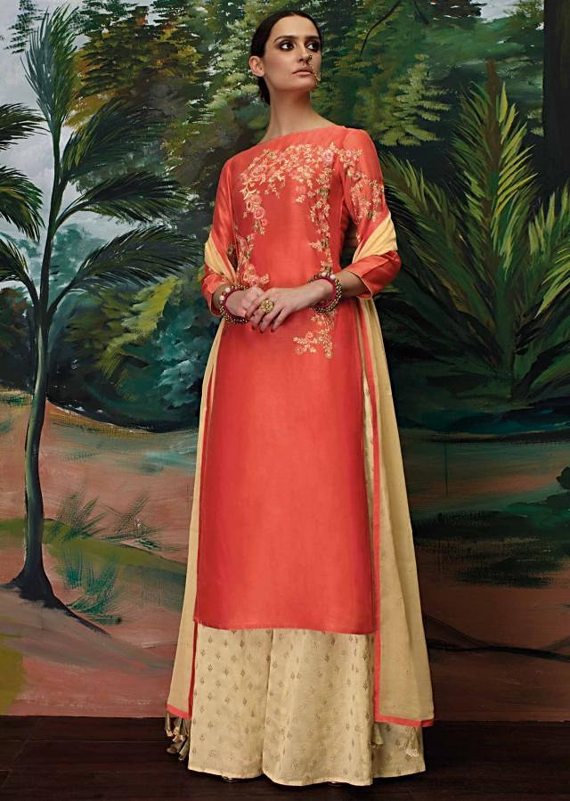 Cayenne red semi stitched suit in resham embroidery