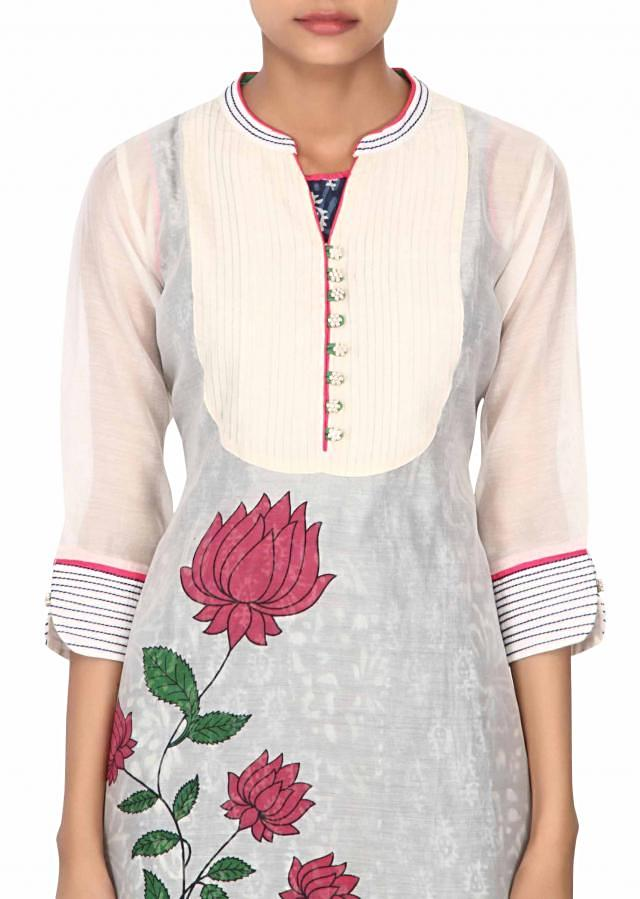 Cream and blue  resham embroidered kurti only on Kalki
