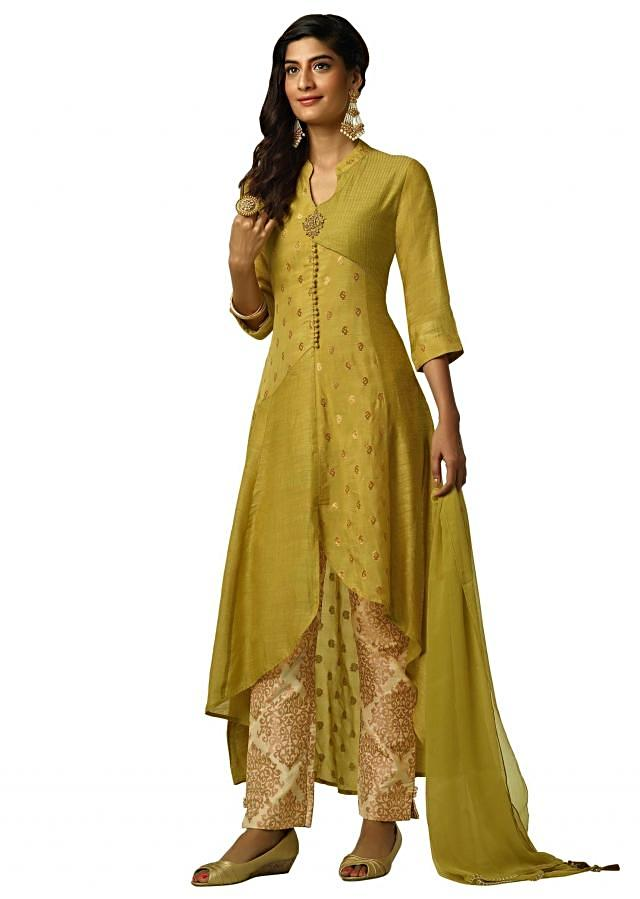 Celery green A line suit with cut dana embroidered butti
