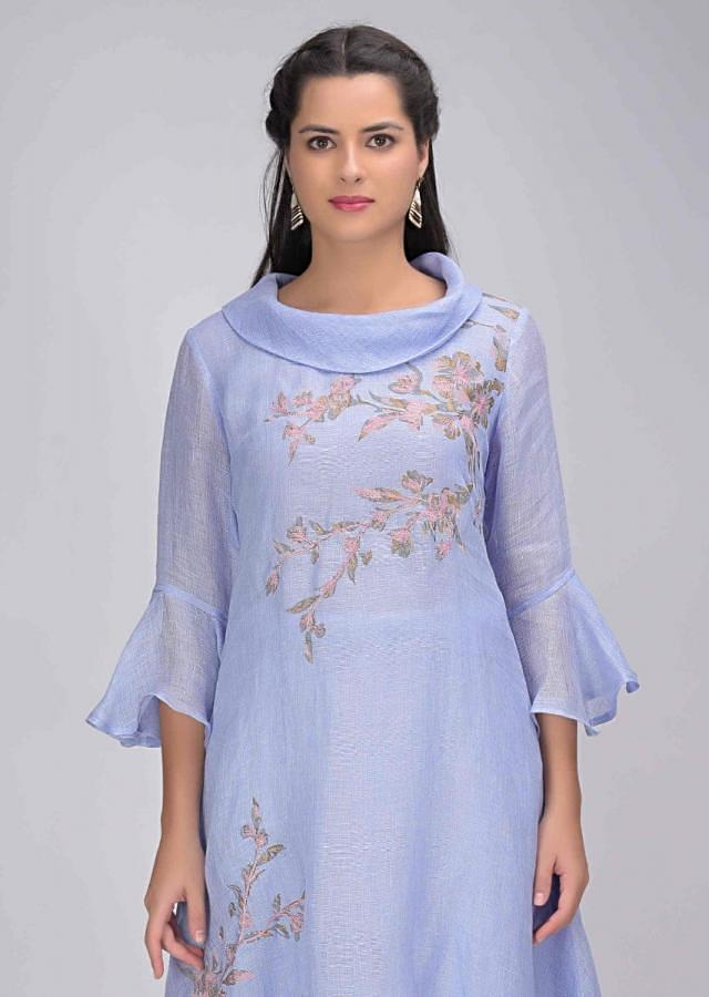 Celestial Blue Layered Tunic In Jute Cotton With High Low Hemline Online - Kalki Fashion