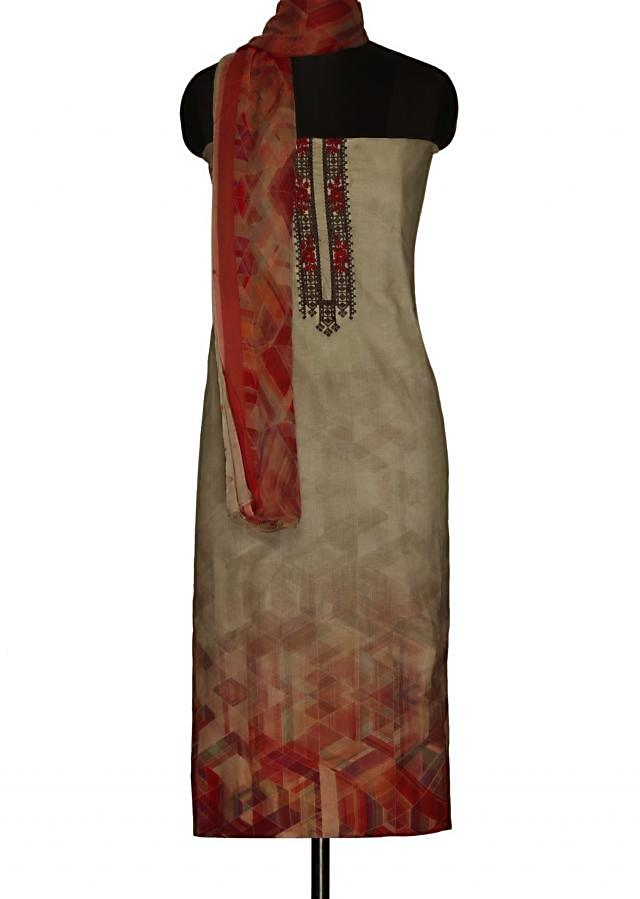 Cement grey unstitched suit with printed dupatta only on Kalki
