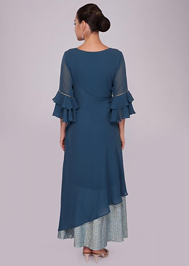 Yale Blue Tunic In Georgette With Jacquard Cotton Under Layer Online - Kalki Fashion