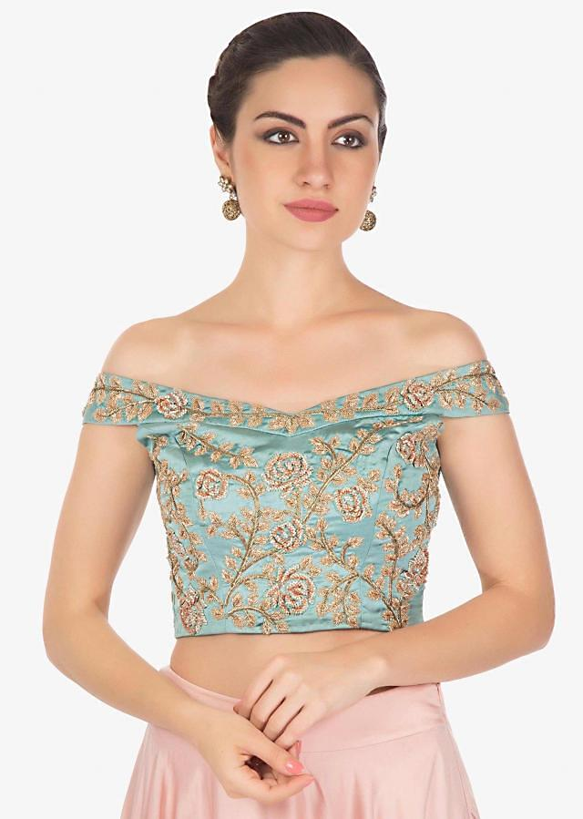 Cerulean Blue Top and Rose Pink Satin Lehenga Styled with Zardosi Handwork Only on Kalki
