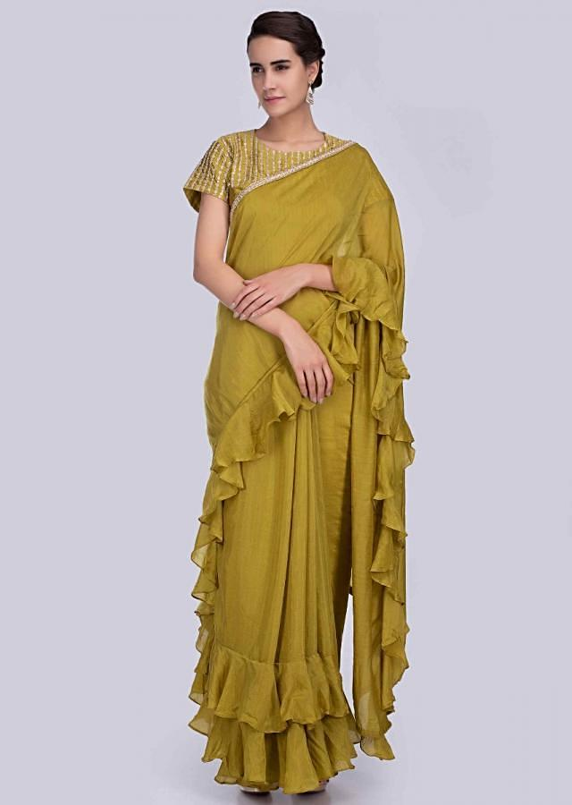 Cetrus green green cotton silk saree with frilled hem and pallo only on Kalki