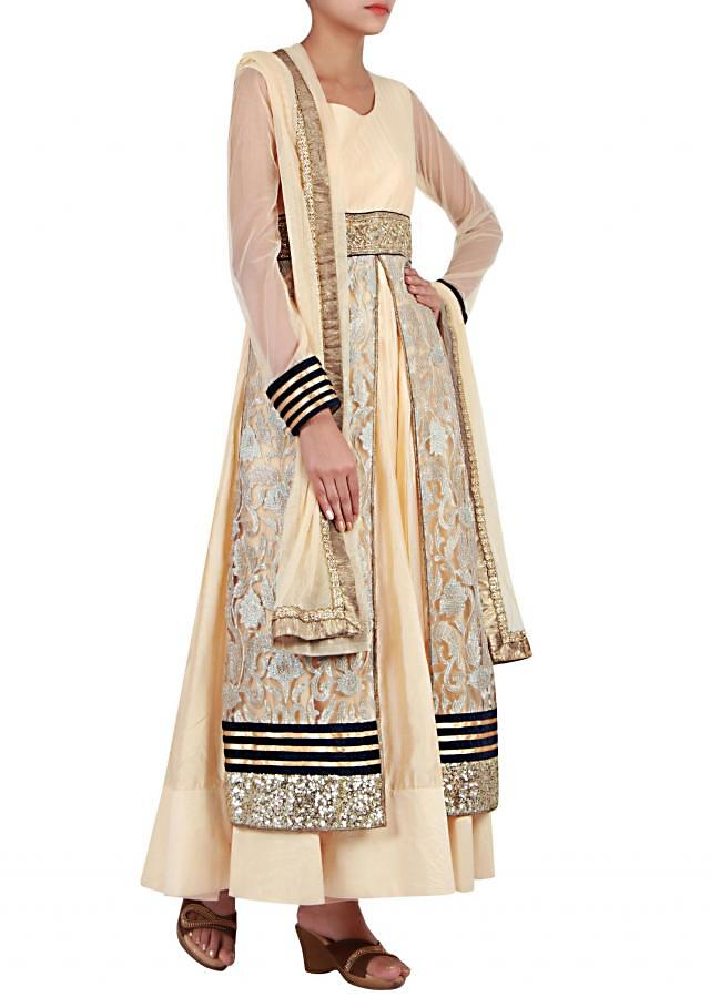 Champaenge gold anarkali suit embellished in zari embroidery and sequin only on Kalki