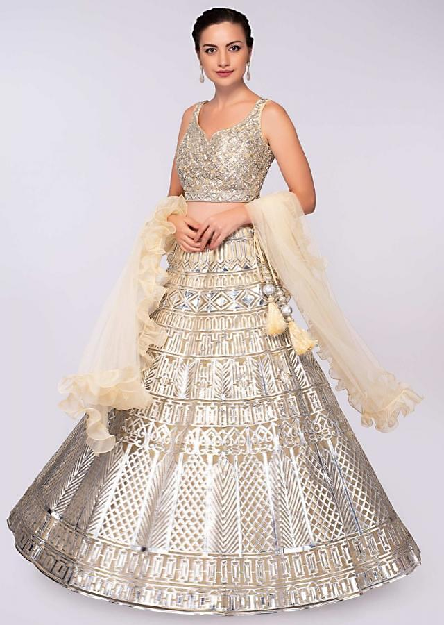 Champagne Cream Lehenga In Net With Applique Work And Matching Blouse Online - Kalki Fashion