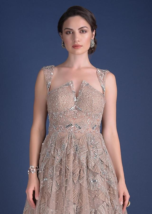 Pink Champagne Gown In Hand Crafted Net With Scalloped Crushed Frill Under layer Online - Kalki Fashion