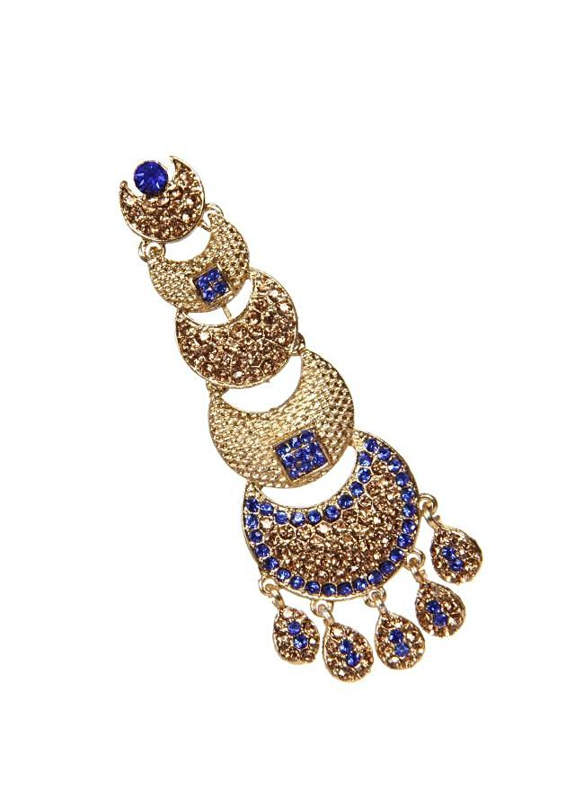 Champagne And Royal Blue Crystal Earring