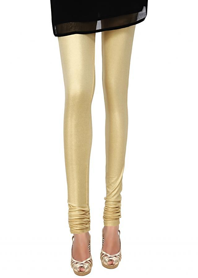 Champagne Gold Leggings In Lycra Hosiery Fabric Online - Kalki Fashion