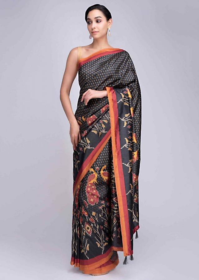Charcoal Black Silk Saree With Peacock And Floral Printed Motif Online - Kalki Fashion