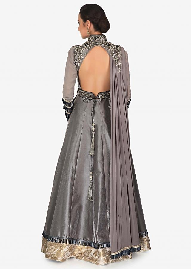 Charcoal Grey Satin Georgette Gown with Cut Work, Zari and Pleats Only on Kalki