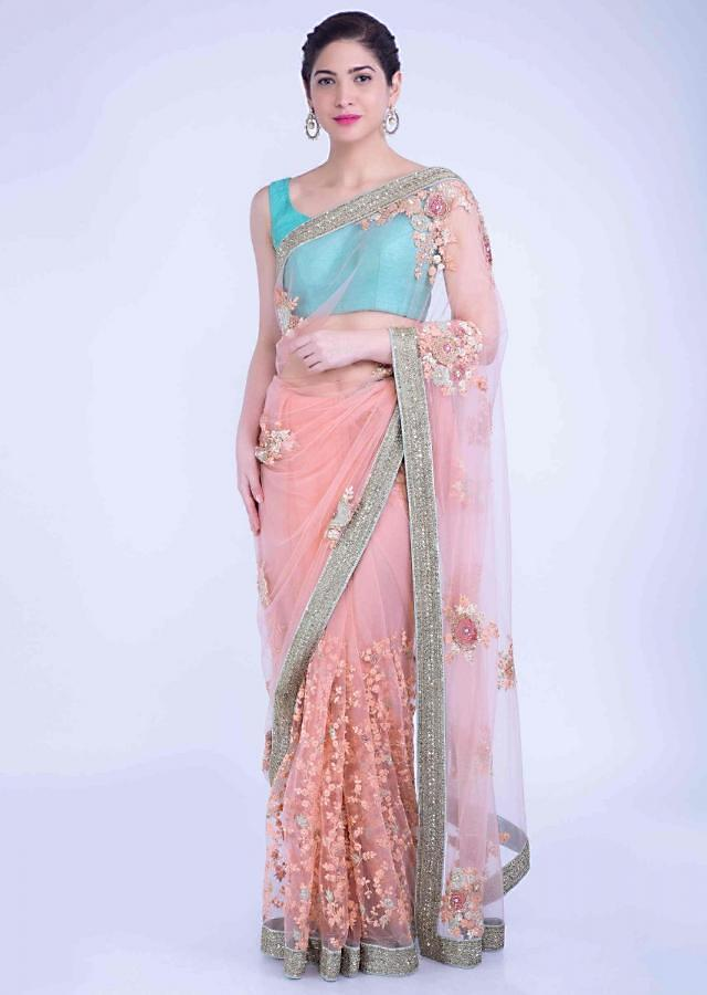 Charisma Peach Saree In Net With Mint Green Border Online - Kalki Fashion