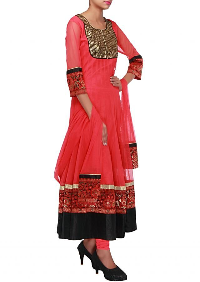 Cherry pink anarkali suit embellished in sequin and brocade lace only on Kalki
