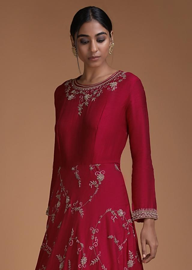 Cherry Red Anarkali Suit With Embroidered Floral Pattern And Yale Blue Dupatta Online - Kalki Fashion