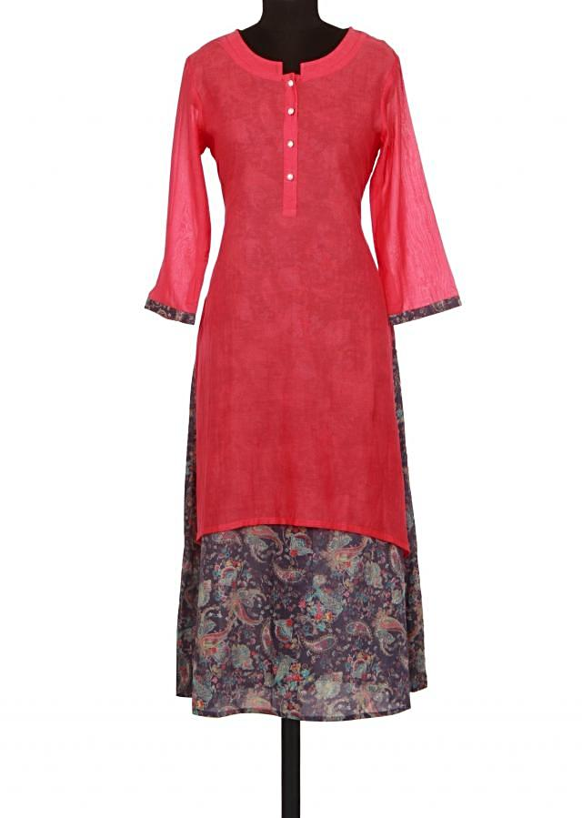Cherry red and blue kurti in floral print only on Kalki