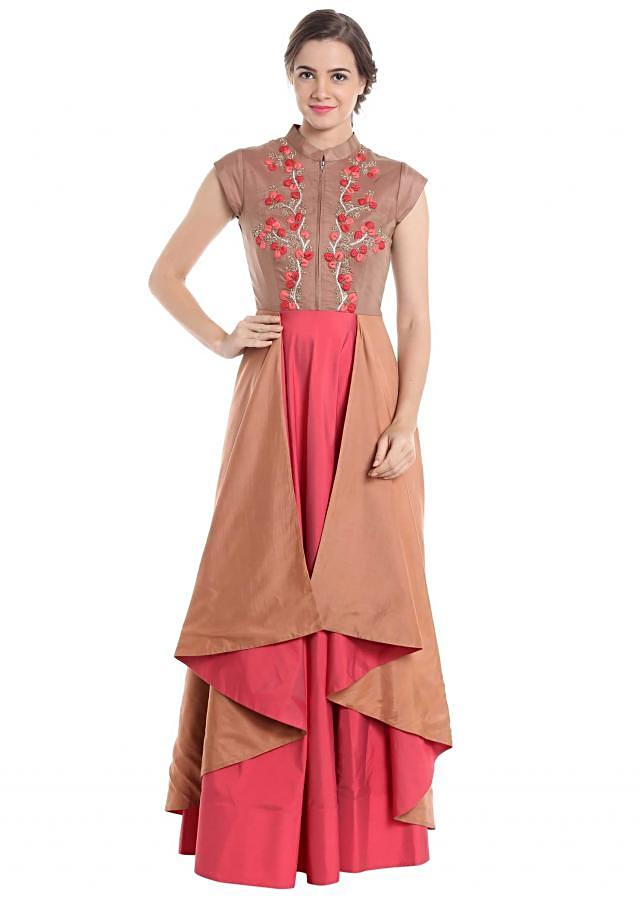 Cherry red and brown silk suit with resham embroidery and front zipper closure only on Kalki