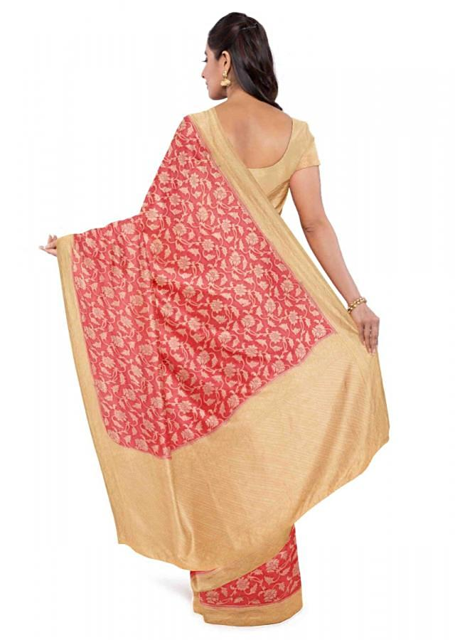 Cherry red chiffon saree with banana yellow blouse piece only on Kalki