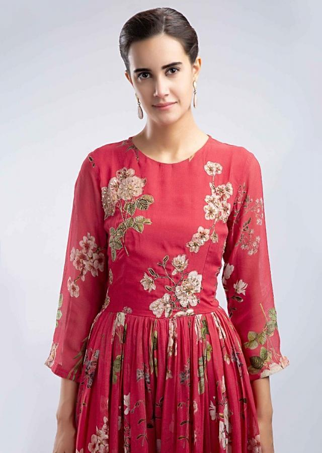 Cherry Red Jumpsuit In Georgette With Floral Print Online - Kalki Fashion