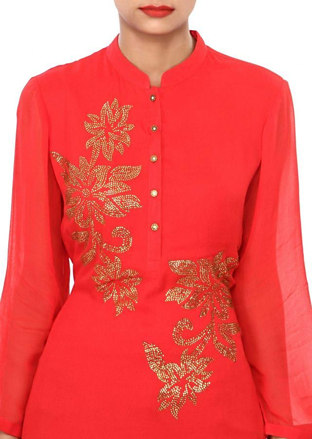 Cherry red kurti embellished in kundan embroidery only on Kalki