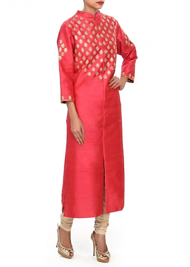 Cherry red kurti embellished in zari and kundan embroidered butti only on Kalki