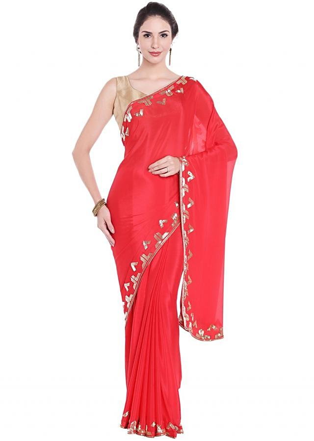 Cherry Red Saree In Cut Dana Embroidered Border Online - Kalki Fashion
