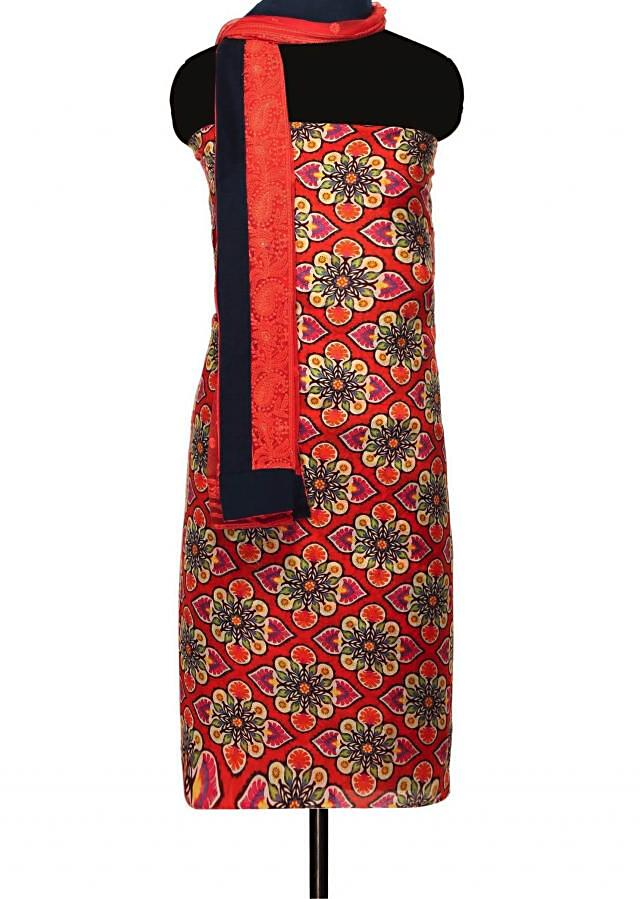 Cherry red unstitched suit with embroidered dupattaonly on Kalki