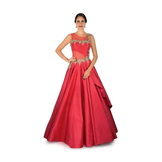 Cherry red gown in raw silk is featured in zari and sequin embroidery work only on Kalki