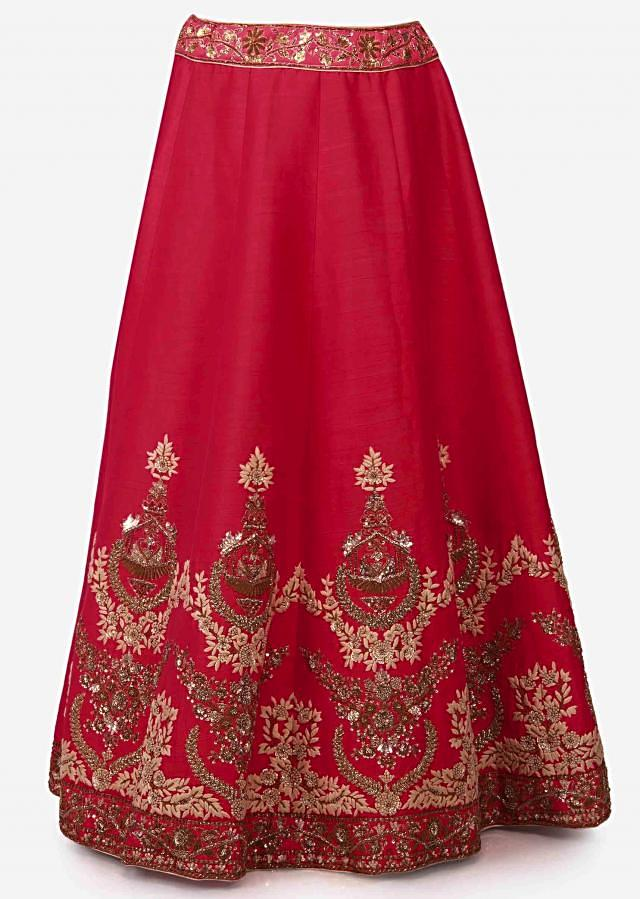 Cherry red lehenga in raw silk embellished in zardosi and sequin embroidery work only on Kalki