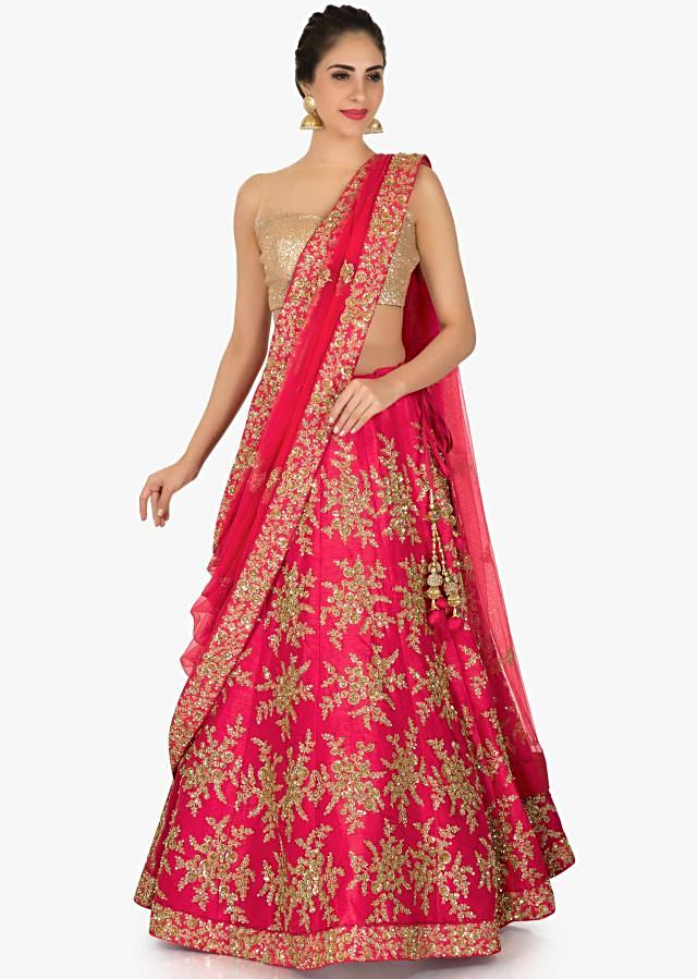 Cherry Red Lehenga In Raw Silk Embellished In Zari And Sequin Online - Kalki Fashion