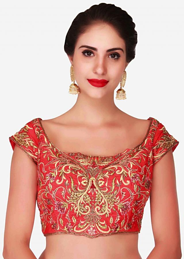 Cherry red lehenga in raw silk embellished in zari embroidery work only on Kalki