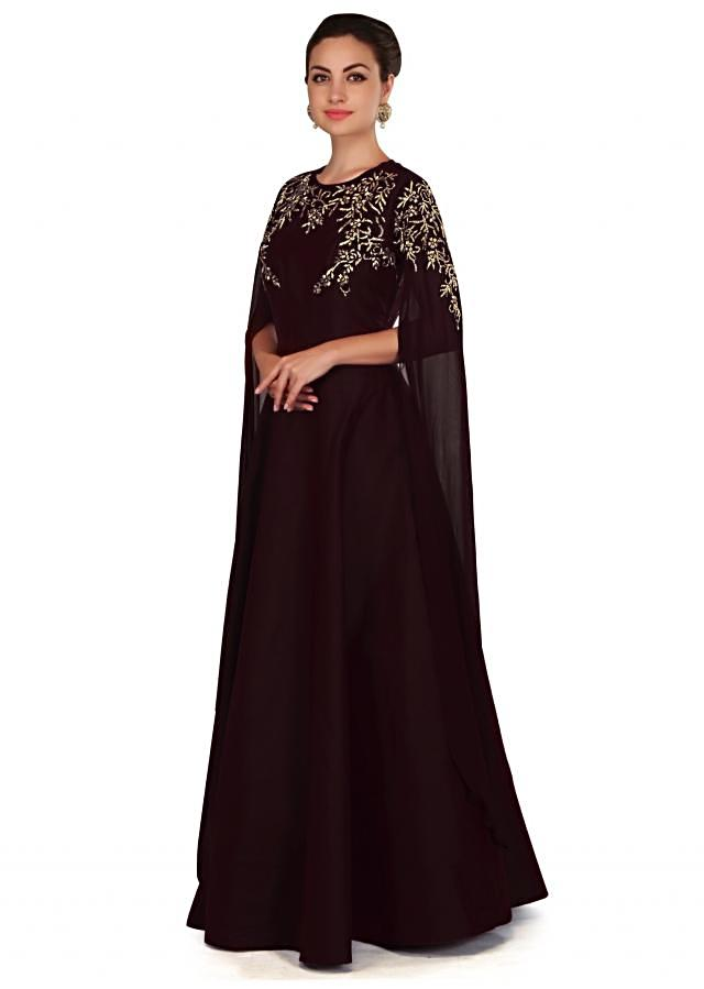 Chocolate brown embroidered dress with fancy slit sleeve only on Kalki