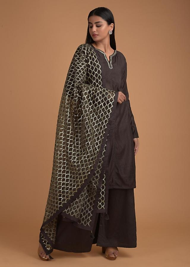 Chocolate Brown Palazzo Suit With Self Thread Embroidered Stripes And Sequins Embroidery Online - Kalki Fashion