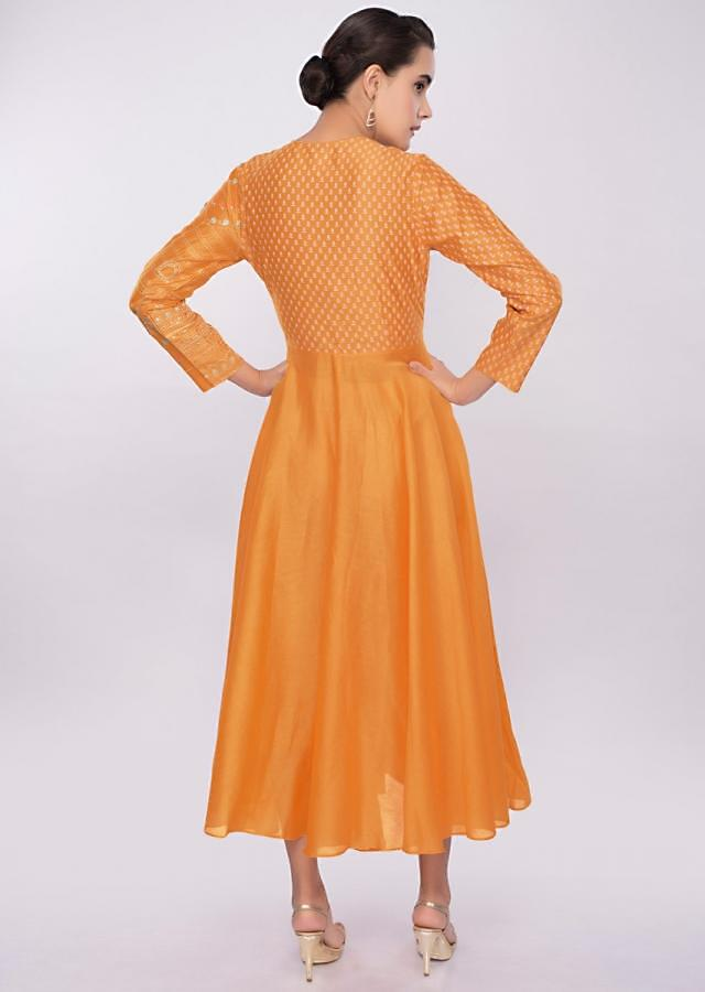 Chrome yellow cotton silk kurti with print and embroidered bodice only on Kalki