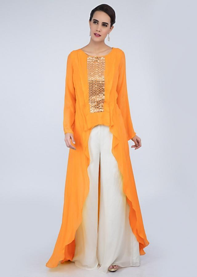 Chrome yellow front short back long top with white flared palazzo only on Kalki