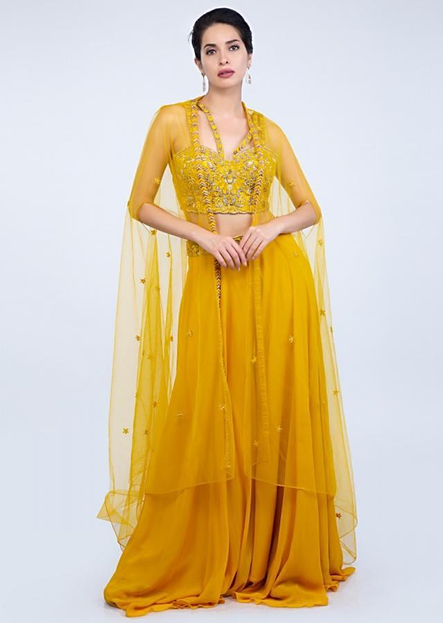 Anya Singh in Kalki chrome yellow georgette palazzo with embroidered crop top and a long net jacket