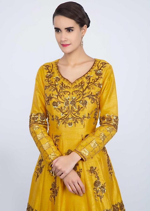 Chrome Yellow Anarkali Suit In Raw Silk With Heavy Embroidery And Butti Online - Kalki Fashion