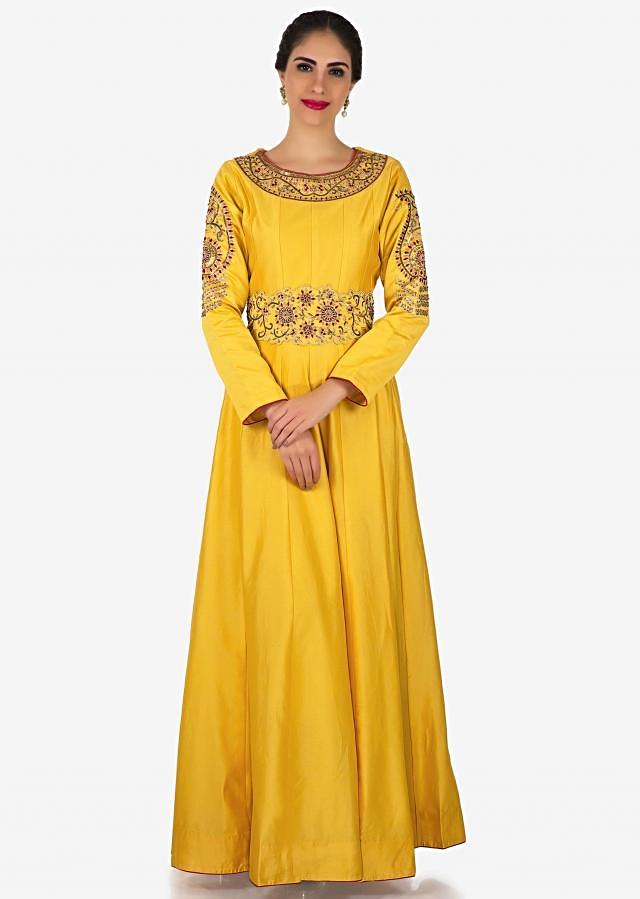 Chrome yellow anarkali suit in silk with french knot embroidered neckline only on Kalki