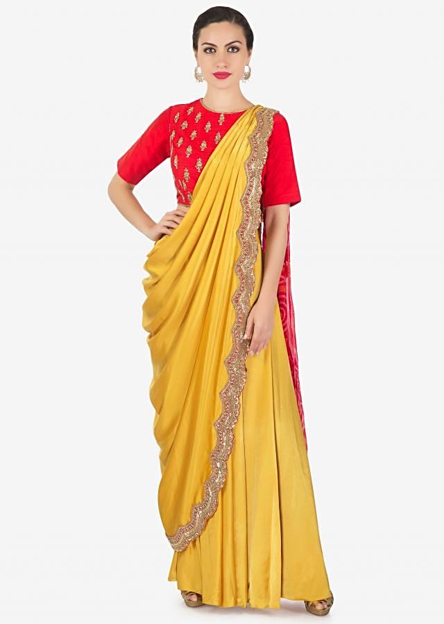 Chrome yellow and red lehenga set with pre stitched dupatta in bandhani print only on Kalki