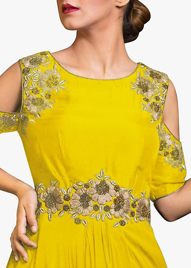 Chrome yellow cold shoulder indo western gown with embroidered armhole and waist line
