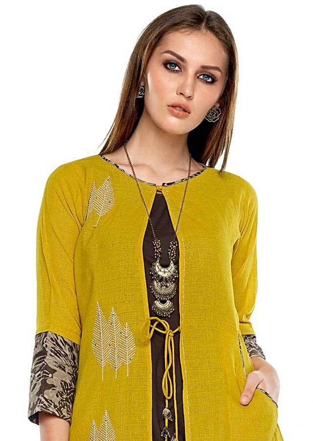 Chrome yellow palazzo suit in cotton with thread embroidered butti