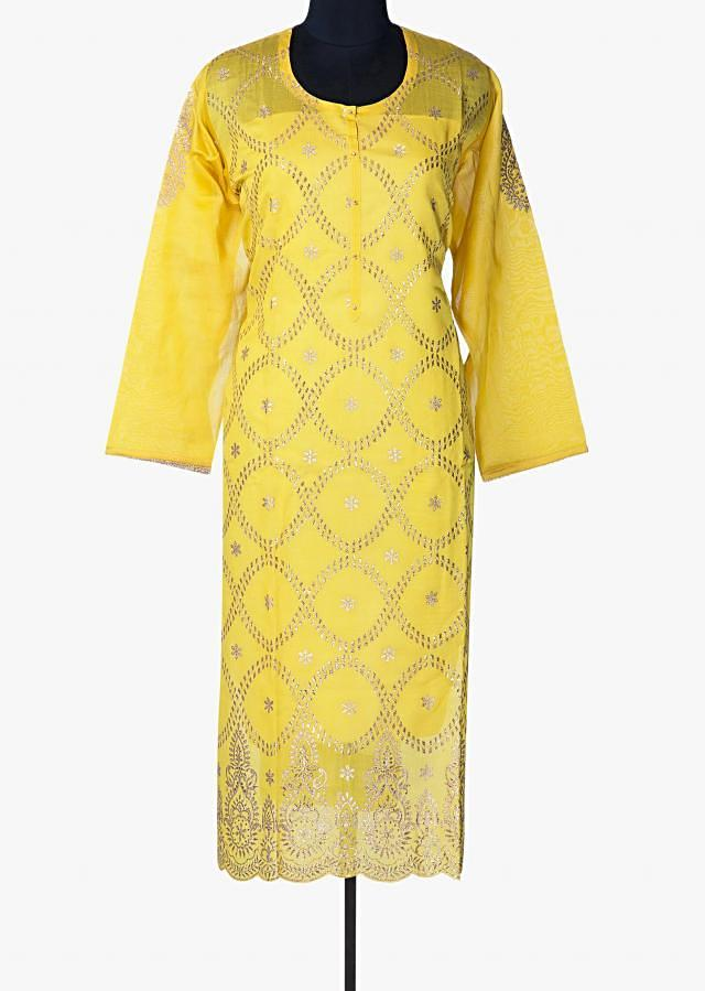 Chrome yellow semi stitched suit in cotton silk with gotta zari work only on Kalki