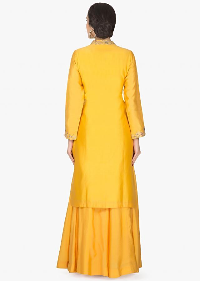 Chrome yellow straight palazzo suit with embroidered placket and hem only on Kalki