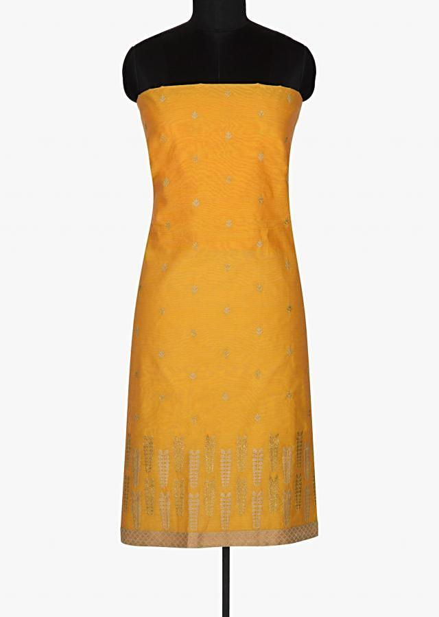 Chrome yellow unstitched suit in thread jaal motif embroidery only on Kalki