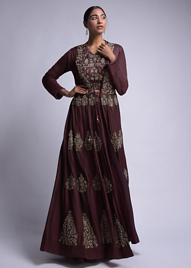 Cinnamon Brown Jacket Lehenga And Crop Top With Floral Embroidery Online - Kalki Fashion