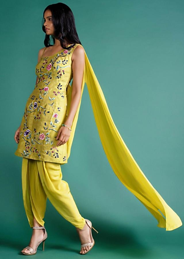 Citrus Green Dhoti With Floral Embroidered One Side Strap Suit Designed With Attached Dupatta Online - Kalki Fashion