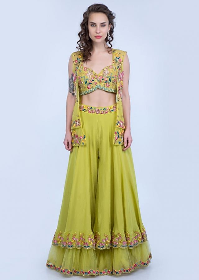 Citrus Green Layered Palazzo With Matching Embroidered Crop Top And Net Jacket Online - Kalki Fashion