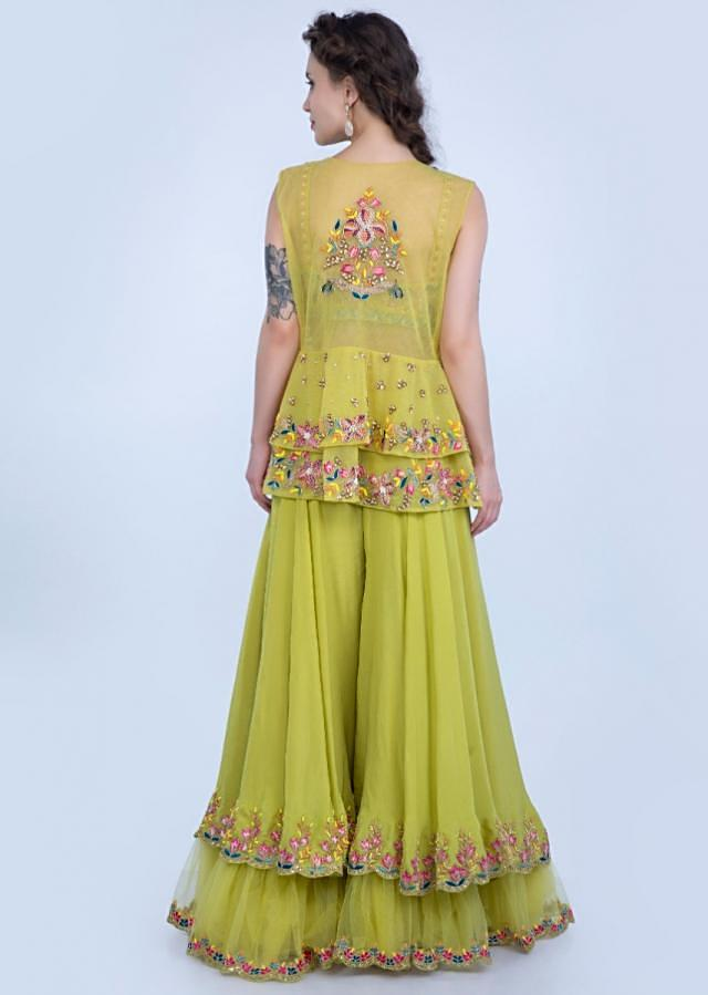 Asha Negi in Kalki Citrus Green Layered Palazzo With Matching Embroidered Crop Top And Net Jacket